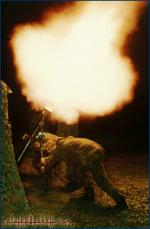 Mörser bei Nacht, AMF-Übung Ardent Ground, Baumholder.